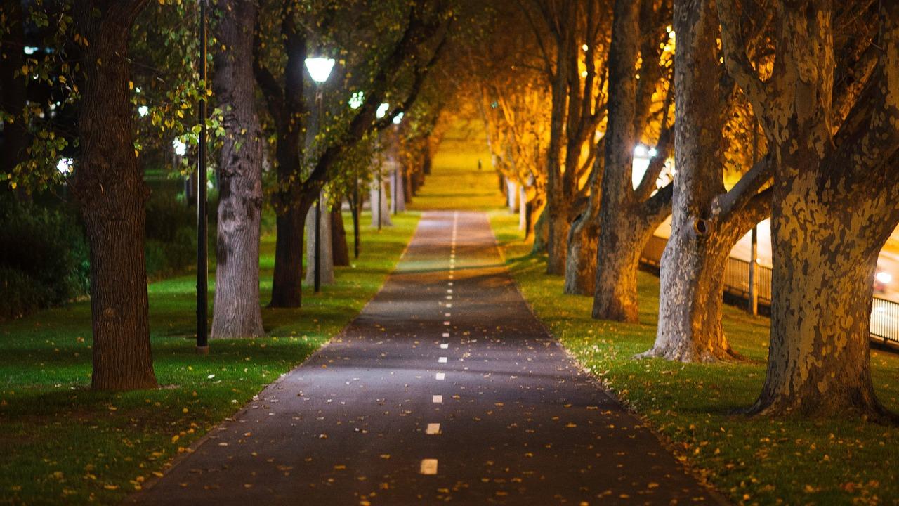 park wieczorem